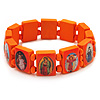 Stretch Orange Wooden Saints Bracelet / Jesus Bracelet / All Saints Bracelet - Up to 20cm Length