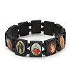 Stretch Dark Brown Wooden Saints Bracelet / Jesus Bracelet / All Saints Bracelet - Up to 20cm Length