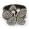Large Clear Swarovski Crystal 'Flower' Flex Bracelet In Gun Metal Finish - 19cm Length
