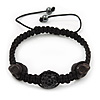 Skull & Black Crystal Beaded Buddhist Bracelet - Adjustable - 12mm Diameter