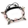 Burn Silver Floral Pink Glass Beaded Buddhist Bracelet - Adjustable
