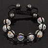 Transparent Crystal Beaded Buddhist Bracelet - Adjustable - 11mm Diameter