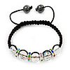 Transparent Crystal Beaded & Multicoloured Crystal Rings Buddhist Bracelet - Adjustable - 11mm Diameter