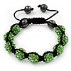 Unisex Grass Green Swarovski Crystal Balls & Smooth Round Hematite Beads Buddhist Bracelet - 12mm - Adjustable
