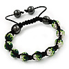 Emerald Green/Grass Green/Clear Swarovski Crystal & Hematite Beaded Buddhist Bracelet - Adjustable - 10mm Diameter