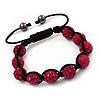 Unisex Buddhist Bracelet Crystal Fuchsia Swarovski Crystal Beads 10mm - Adjustable