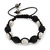 Unisex Buddhist Bracelet Crystal Black/Clear Swarovski Crystal Beads 10mm - Adjustable