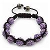 Unisex Buddhist Bracelet Crystal Lilac Swarovski Crystal Beads 10mm - Adjustable