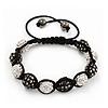 Unisex Buddhist Bracelet Crystal Dark Grey/Clear Swarovski Crystal Beads 10mm - Adjustable