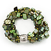 3-Strand Green Shell Composite Flex Bracelet - 21cm Length