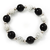 Black/ White Ceramic Bead Flex Bracelet - 21cm Length