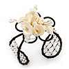 Light Cream Shell 'Flower' Wired Cuff Bracelet - Adjustable