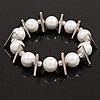 Chunky Faux Pearl With Triangular Bead Flex Bracelet - 22cm Length