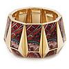 Wide Goldtone Geometric Flex Bracelet - Up to 18cm Length