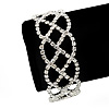 Bridal Clear Diamante Bracelet In Silver Plated Metal - 17cm Length