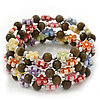 Acrylic Flower Bead Coil Flex Bracelet (Dark Green) - Adjustable