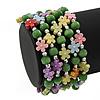 Acrylic Flower Bead Coil Flex Bracelet (Light Green) - Adjustable