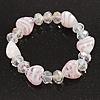 Light Pink/Transparent Heart & Faceted Bead Flex Bracelet - 18cm Length