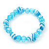 Light Blue Heart & Faceted Bead Flex Bracelet - 18cm Length