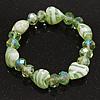 Pale Green/White Heart & Faceted Bead Flex Bracelet - 18cm Length