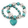 2-Strand Turquoise Stone & Silver Metal Bead 'Heart' Charm Flex Bracelet - 19cm Length