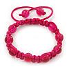 Unisex Magenta Glass Bead Teen Buddhist Bracelet On Silk String