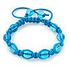 Unisex Blue Glass Bead Teen Buddhist Bracelet On Silk String
