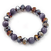 Purple Glass Bead Flex Bracelet - 18cm Length
