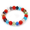 Multicoloured Glass Bead Flex Bracelet - 18cm Length