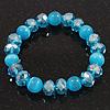 Ligth Blue Glass Bead Flex Bracelet - 18cm Length