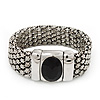 Silver Tone Wide Mesh Magnetic Bracelet With Black Resin Stone - 18cm Length