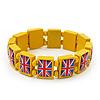 UK British Flag Union Jack Yellow Stretch Wooden Bracelet - up to 20cm length