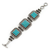 Vintage Turquoise Stone Square Filigree Bracelet With Toggle Clasp -18cm Length