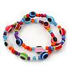 Set Of 2 Multicoloured 'Evil Eye' Flex Teen Bracelets - Adjustable