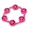 Children's Deep Pink Acrylic 'Happy Face' Bracelet - Adjustable
