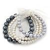 Grey/White Multistrand Glass Bead Flex Bracelet - Up to 19 cm wrist