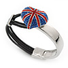 Swarovski Crystal Union Jack 'Heart' Leather Cord Bracelet - 17cm Length (for smaller wrists)