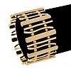 Polished Gold Plated Bars & Beads Flex Bracelet - 18cm Length