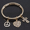 Gold Plated Charm 'Prayer of Saint Francis' Flex Bangle Bracelet - 18cm Length