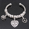 'Its A Secret' Silver Plated Twisted Charm Cuff Bracelet - Adjustable