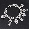 Rhodium Plated Charm 'Heart, Key & Lock' Link Bracelet - 16cm (For Small Wrist)