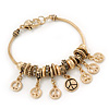 Gold Plated Peace Charm 'Heiwa' Bracelet - 19cm Length