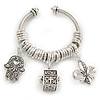 Silver Plated Twisted Charm Cuff Bracelet - Adjustable