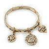 Burn Gold Charm 'Heart, Dove & Love' Flex Bangle Bracelet - 19cm Length