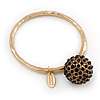 Oversized 'Buddhist' Ball Charm Boutique Bangle (Gold Plated) - 18cm Length
