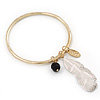 Thin Hammered Charm 'Bead, Feather & Medallion' Bangle In Gold Plating - 18cm Length