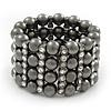 Wide Gun Metal Bead/Crystal Flex Bracelet - 18cm Length