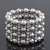 Wide Matt Silver Bead/Crystal Flex Bracelet - 18cm Length