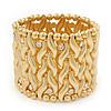 Wide Gold Plated Crystal 'Plaited' Flex Bracelet - 19cm Length