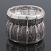 Burn Silver Finish Wide Textured Flex Bracelet - 18cm Length